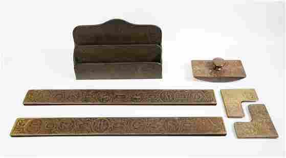 6 pc - Tiffany Studios Zodiac Bronze Part Desk Set