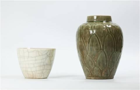 Chinese Song Celadon Porcelain Jar, Crackle Cup
