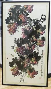 Yuan Hong; Chinese Ink Color Painting Bees&Grapes