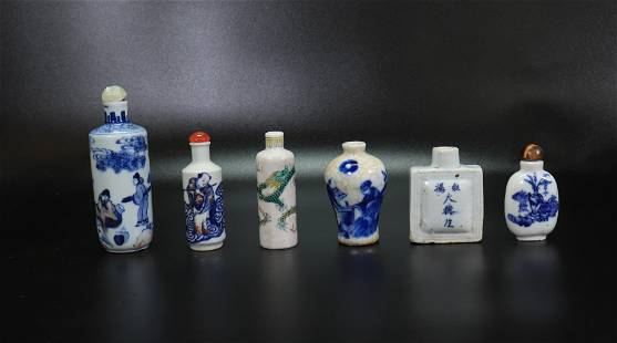 6 Chinese Qing Dynasty Porcelain Snuff Bottles
