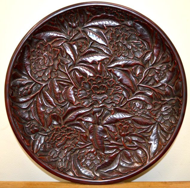 Chinese Carved Cinnabar Lacquer Plate