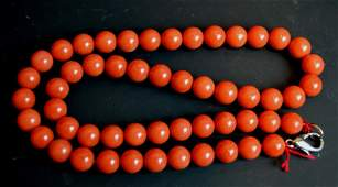 Chinese Dark Red Coral Bead Necklace