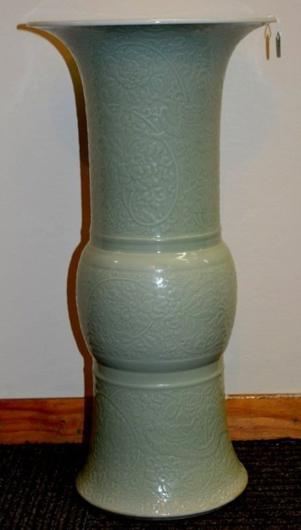 Chinese Carved Celadon Porcelain Vase