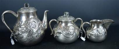 Asian Sterling Silver 3Piece Tea Set