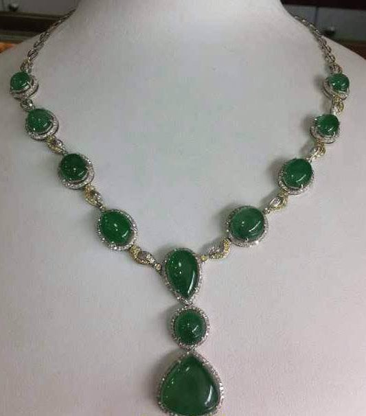 GIA Certified Natural Green Jadeite Necklace