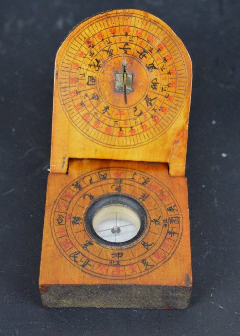 Antique Chinese Feng Shui Wood Compass