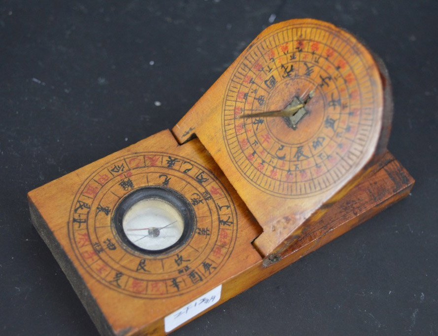 Antique Chinese Feng Shui Wood Compass - 2