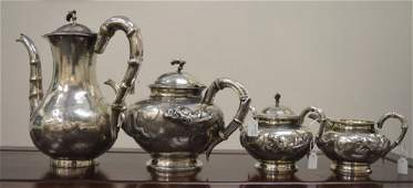 Good Chinese Sterling Silver 4pc Dragon Tea Set