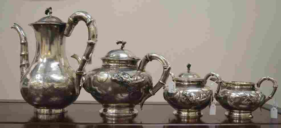 Good Chinese Sterling Silver 4-pc Dragon Tea Set