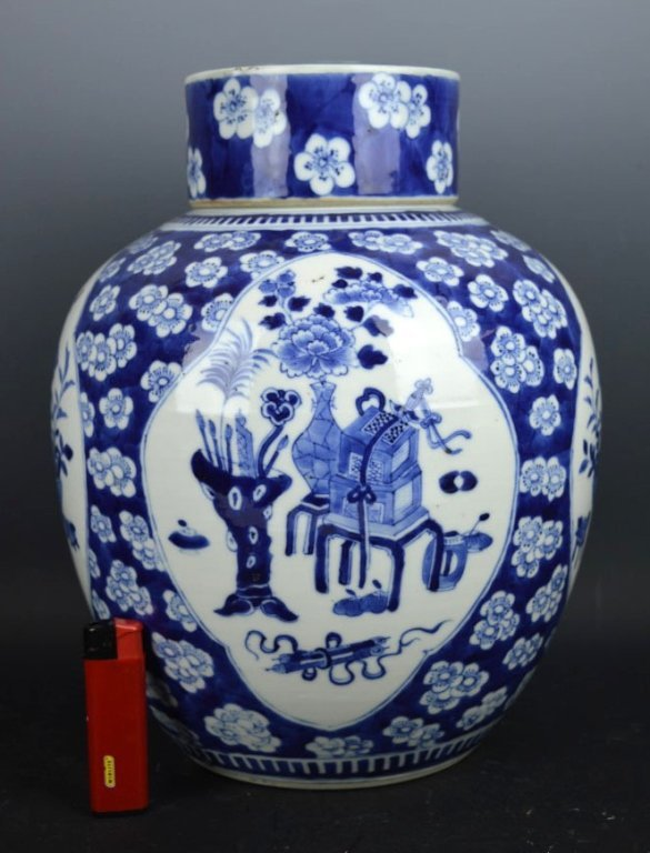 Large Chinese B & W Porcelain Ginger Jar & Cover