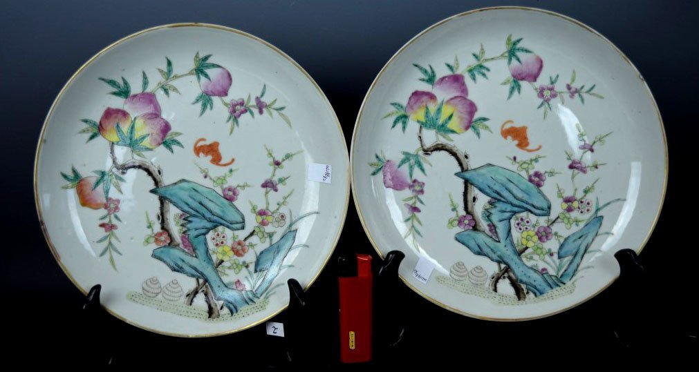 Pair Chinese Porcelain Tongzhi 19th C Plates