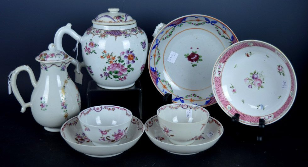 8 Pieces 18th C Famille Rose Chinese Porcelain