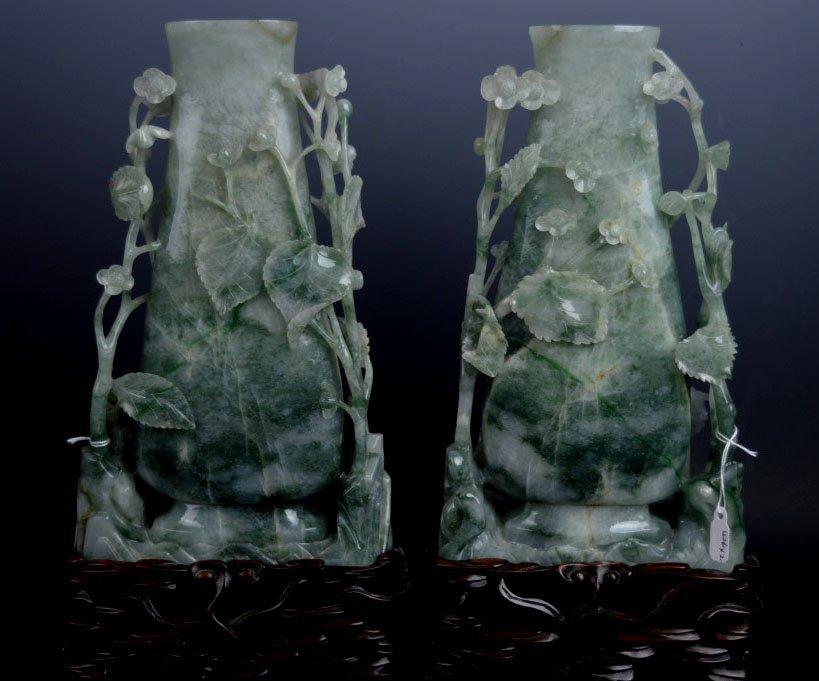 Pr. Fine Translucent Carved Jadeite Vases & Stands