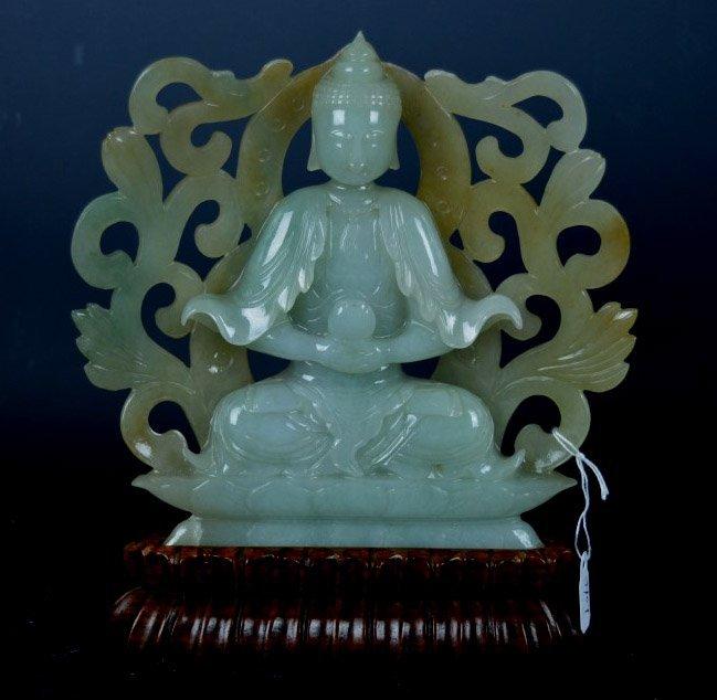 Good Chinese Translucent Jadeite Carved Buddha