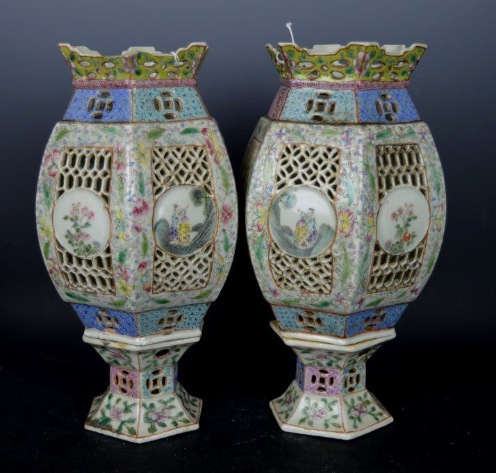 19th C Chinese Pierced Porcelain Lamps & Bases