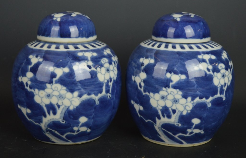 Pr. B & W Hawthorn Ginger Jars and Matching Covers