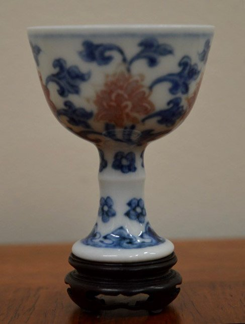 17th C Fine Chinese Blue & Red Porcelain Stem Cup