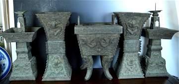 Sotheby's: Rare 5-pc Qianlong Bronze Imperial Altar Set