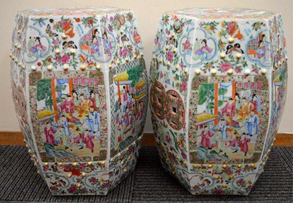 Pr Best Chinese 19th C Rose Mandarin Garden Seats