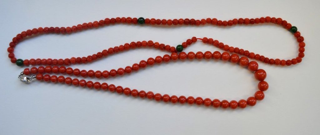 2 Good Chinese Coral Bead Necklaces