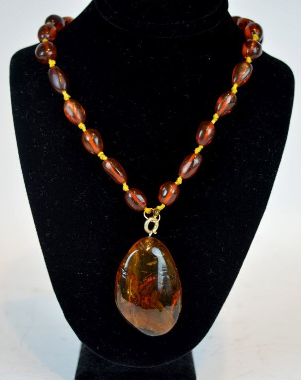Chinese Amber Beads & Insect Amber Pendant