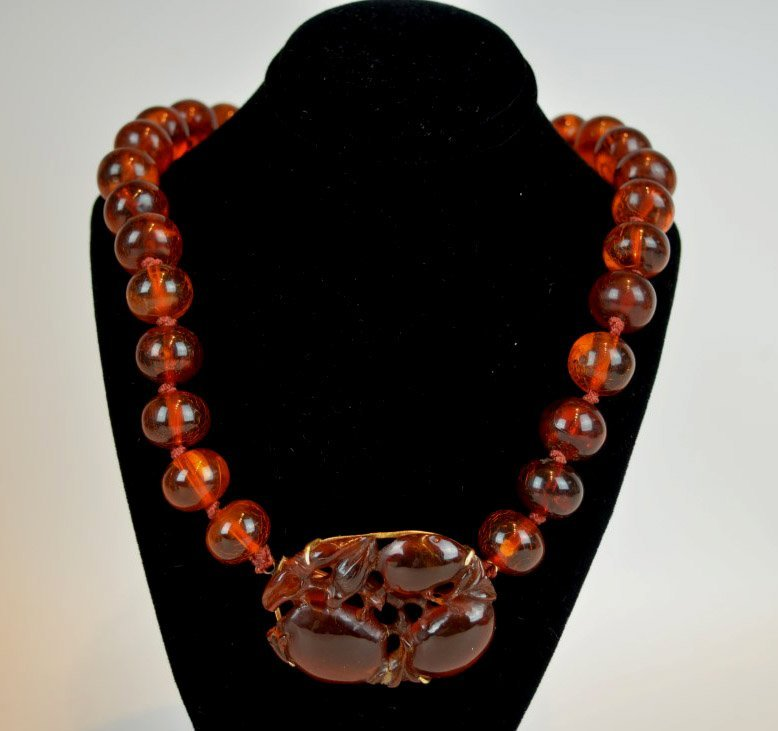 Chinese Amber Beads & Carved Amber Pendant