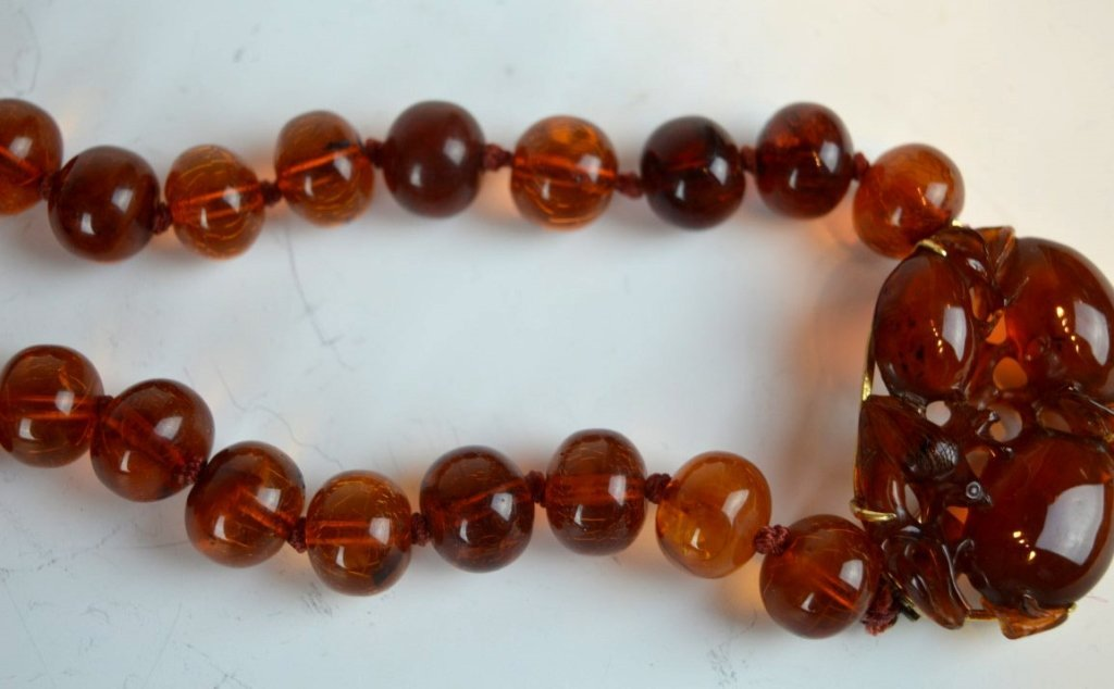 Chinese Amber Beads & Carved Amber Pendant - 2