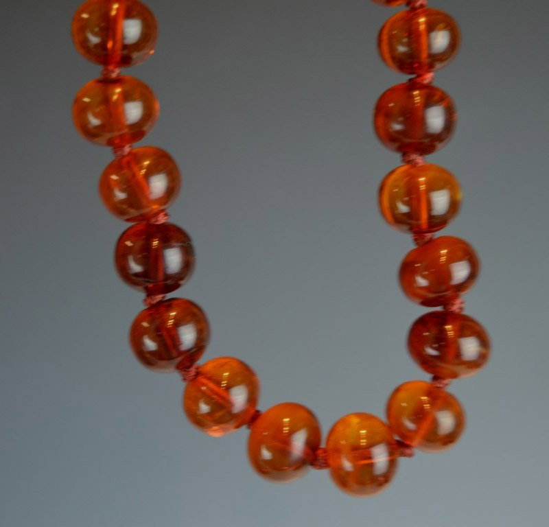 Chinese Amber Beads & Carved Amber Pendant - 4