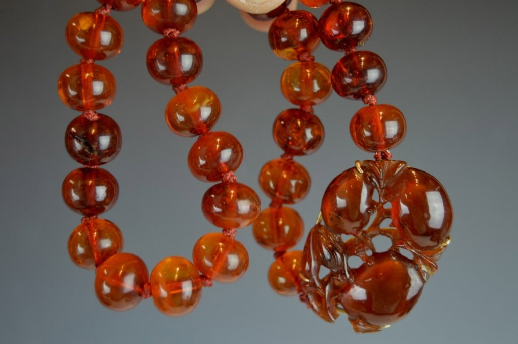 Chinese Amber Beads & Carved Amber Pendant - 5