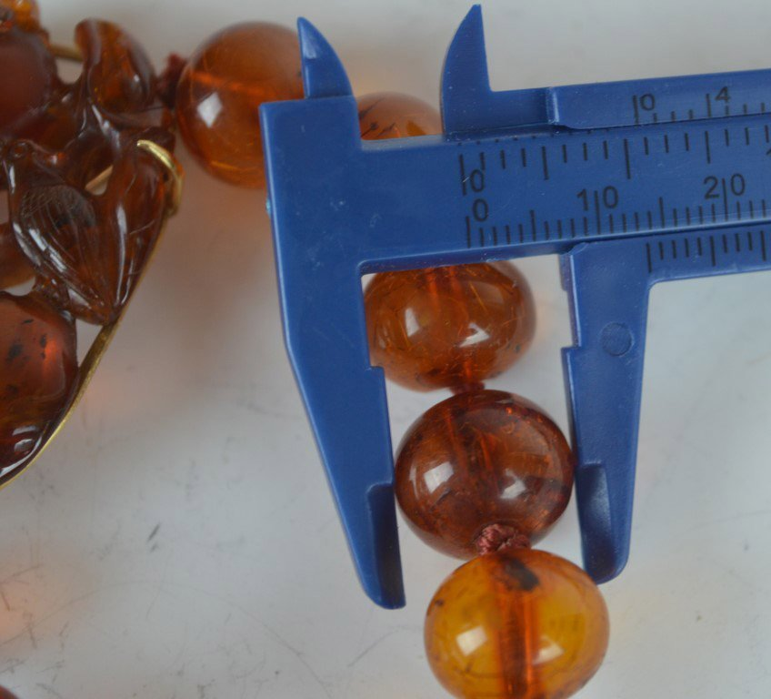 Chinese Amber Beads & Carved Amber Pendant - 7