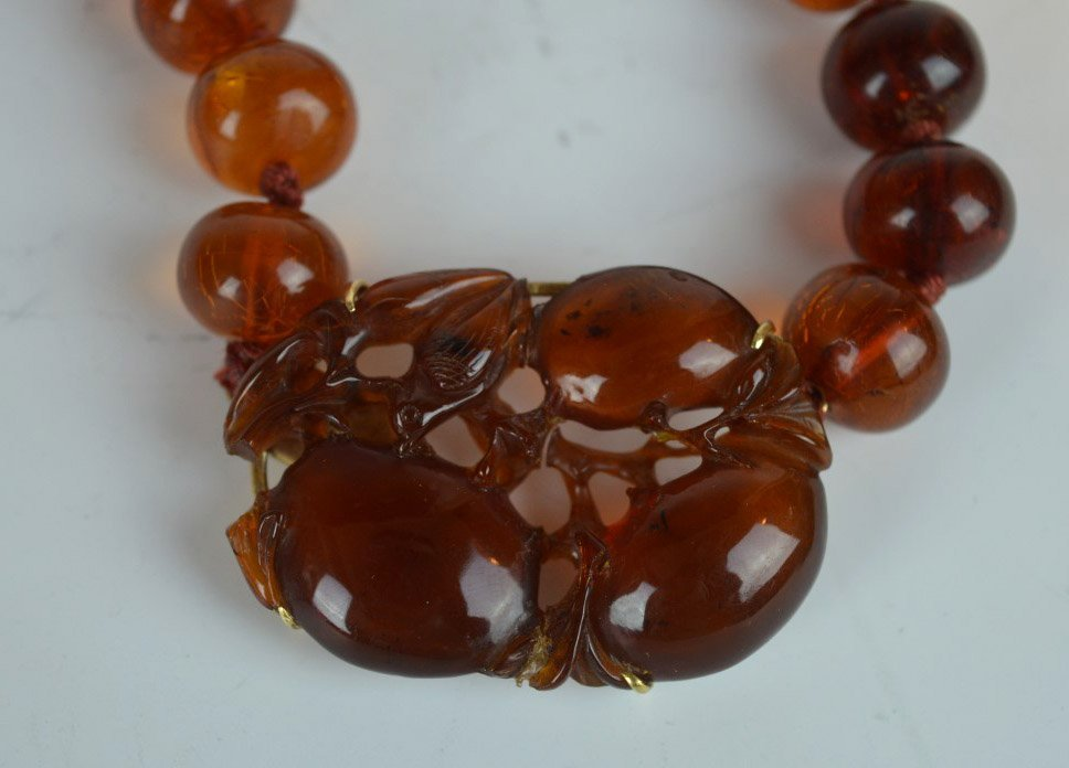 Chinese Amber Beads & Carved Amber Pendant - 8