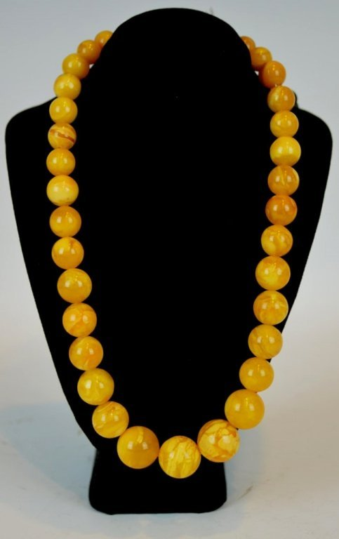 Chinese Butterscotch Agate Bead Necklace