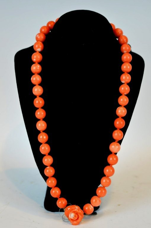Chinese Coral Beads with a Carved 14K Closure