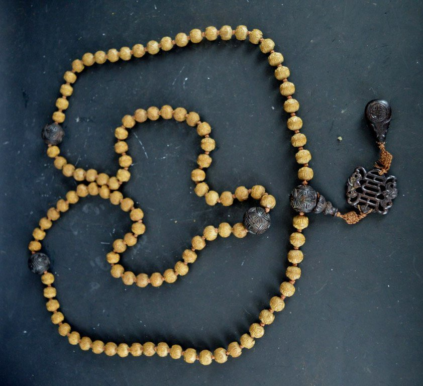 Good Carved Chinese Seed & Fragrant Wood Rosary