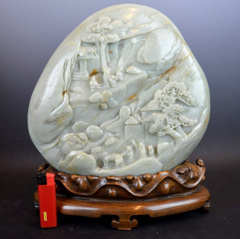 Very Large Chinese Carved Jade Mountain