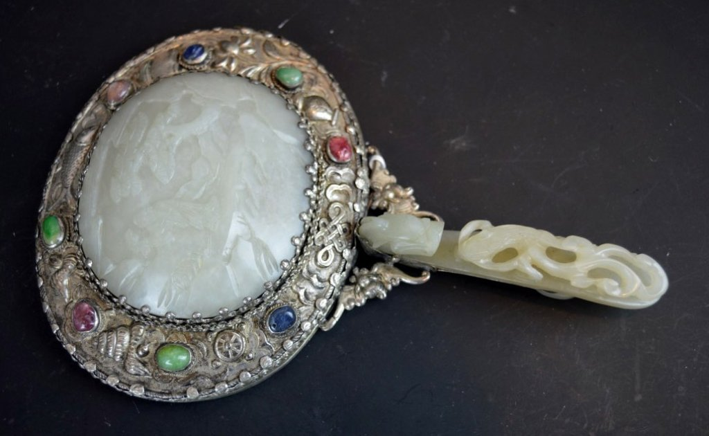 18th C Chinese White Jade Plaque, Jade Buckle