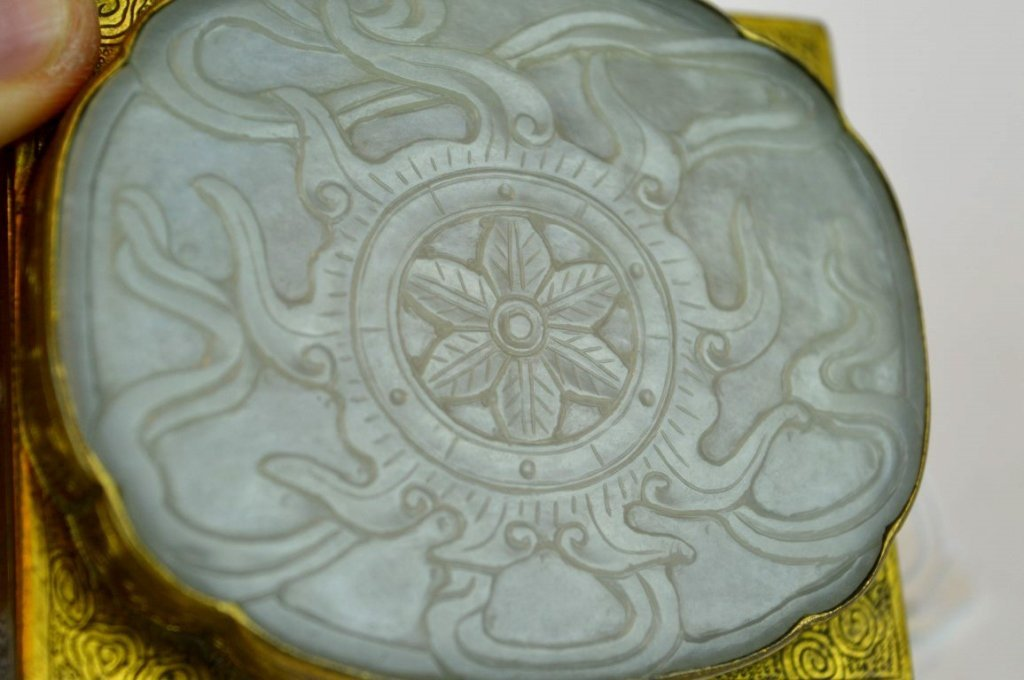 18th C Chinese White Jade Plaque on Gilt Box