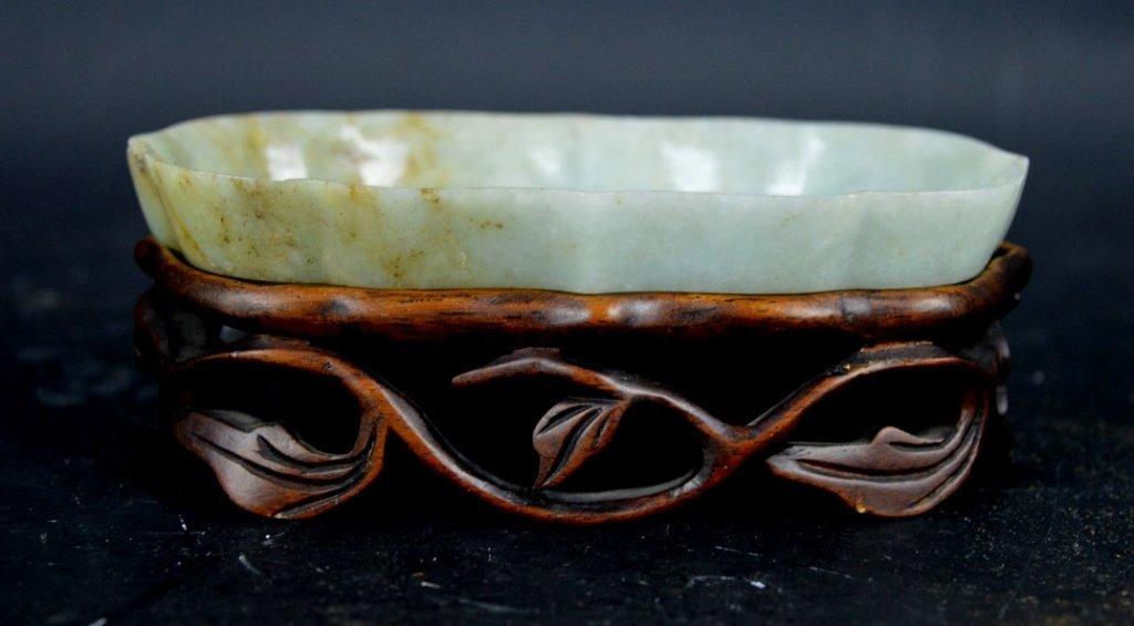 19th C Chinese Jadeite Tray on Hardwood Stand