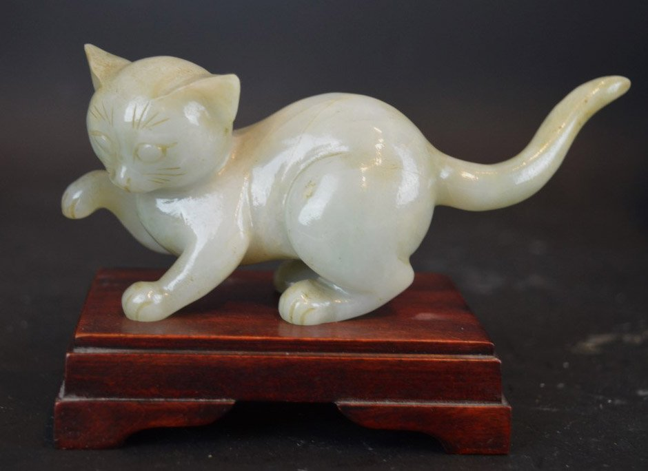 Chinese Well Carved Jadeite Cat on Stand