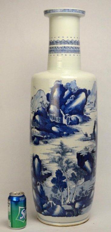 Kangxi Massive Chinese Blue & White Rouleau Vase