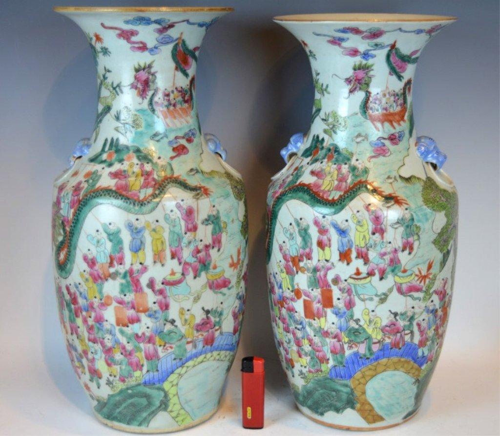 Pr Large 19th C 100 Boy Pattern Porcelain Vases