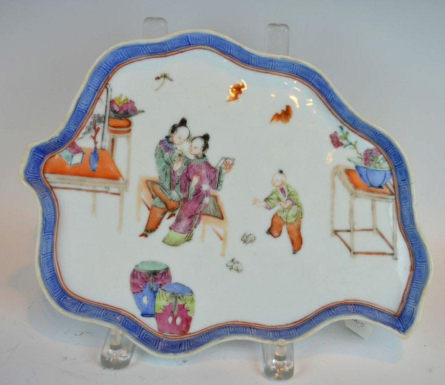 19th C Chinese Porcelain Enameled Leaf Tray