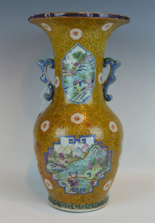 Chinese Porcelain Vase Elaborately Hand-Enameled