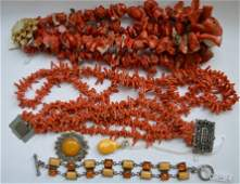 Group Good Chinese Coral  Butterscotch Amber Jewelry