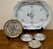 Large 18th C Chinese Porcelain Platter  4 Plates