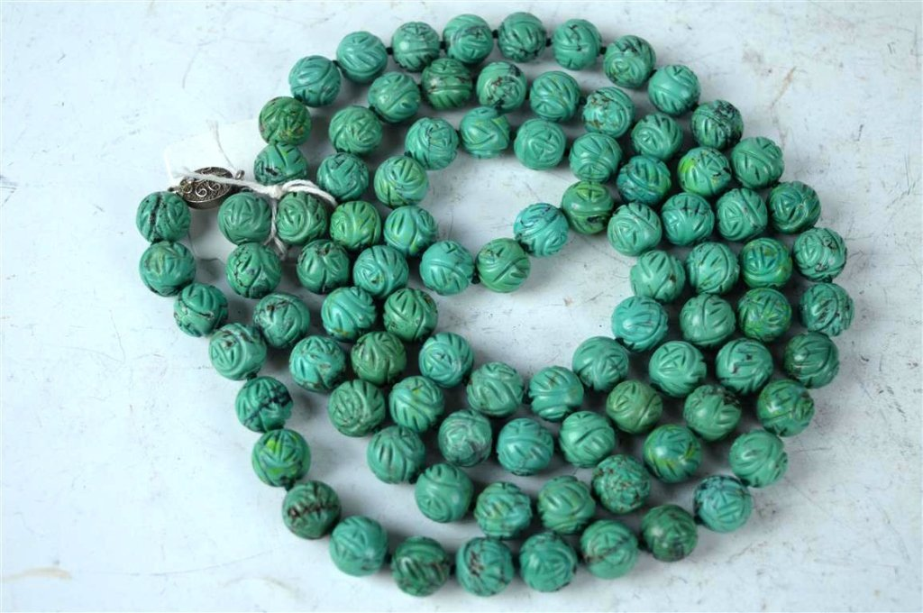91 Good Carved Chinese Turquoise Beads