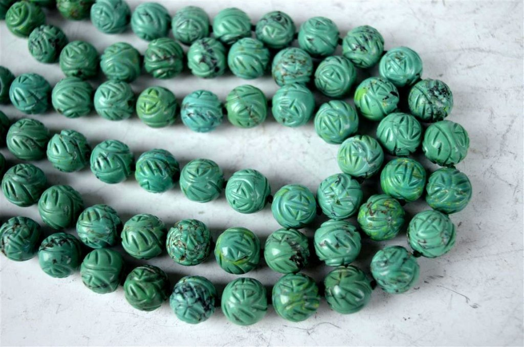 91 Good Carved Chinese Turquoise Beads - 2