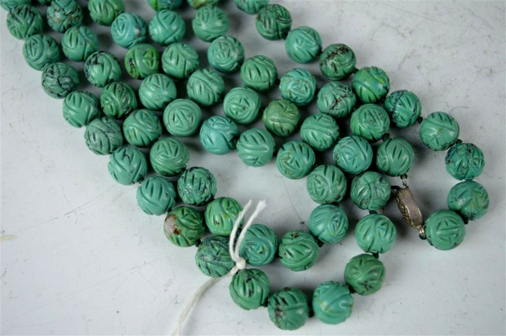 91 Good Carved Chinese Turquoise Beads - 3