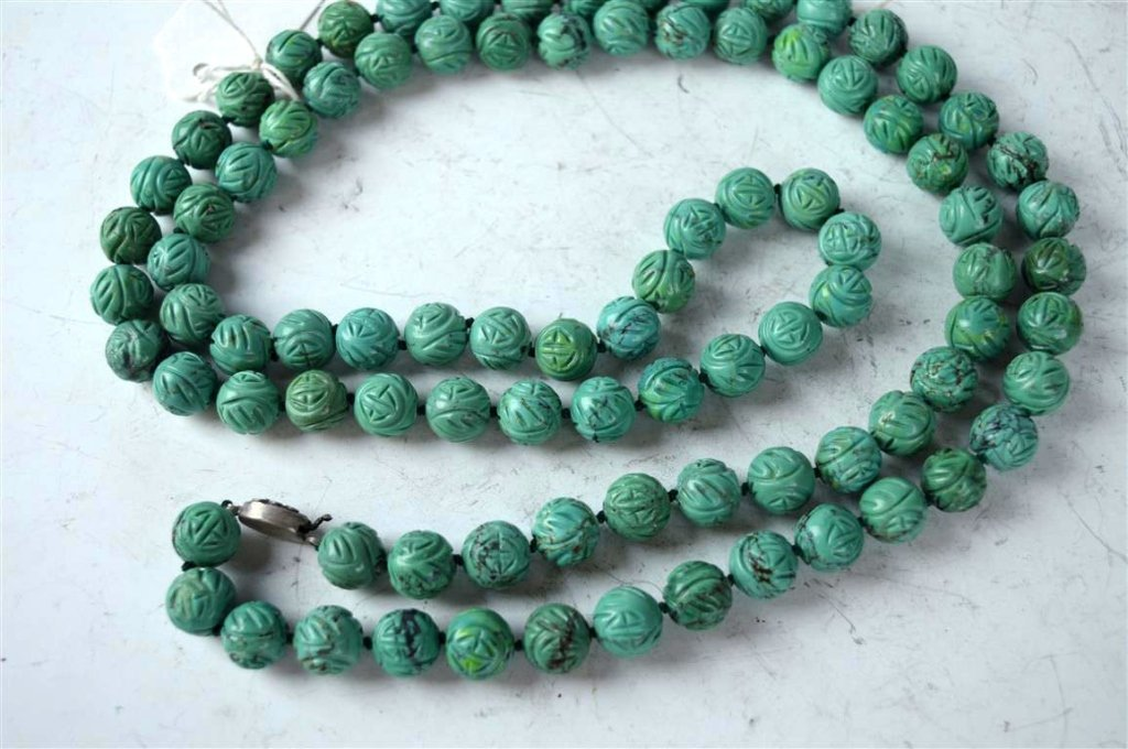 91 Good Carved Chinese Turquoise Beads - 6