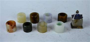 Good Group of Qing Hardstone Archers Rings